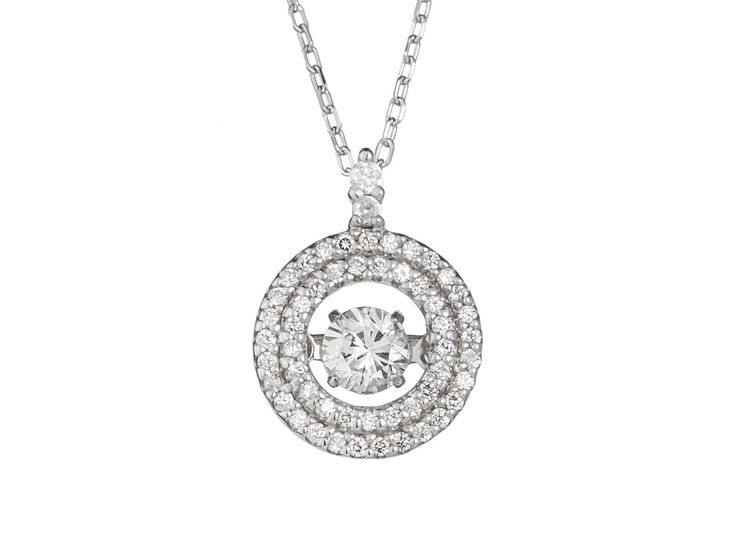 A Delicate Double Halo 18ct White Gold and Diamond Pendant
