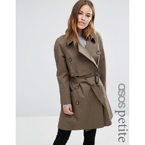 ASOS PETITE Trench with Deep Storm Flap ($52) ❤ liked on Polyvore featuring outerwear, coats, green, petite, green coat, brown double breasted coat, asos, reversible coats and double breasted coat