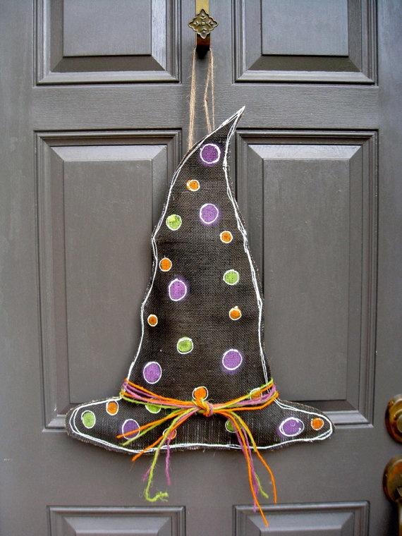 Witches Hat Halloween Burlap Door Hanger by swirleeburlee on Etsy, $25.00