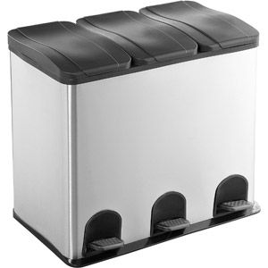The Smart Bin 3 Compartment, 16 Gallon Step Trash And Recycling Bin,  Stainless Steel