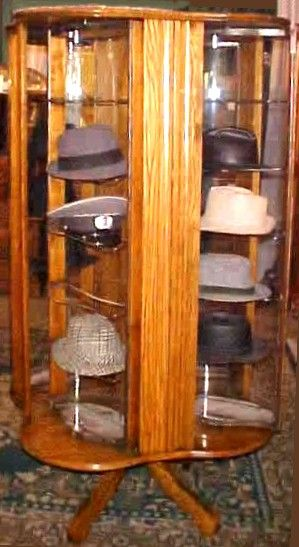 antique oak display cabinet fabulous revolving oak hat display casebrass lantern 4118