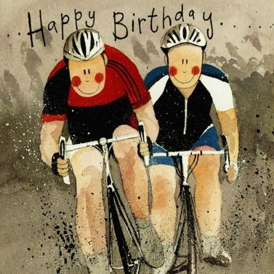 Birthday card of two cyclists from Alex Clark, priced at £1.85