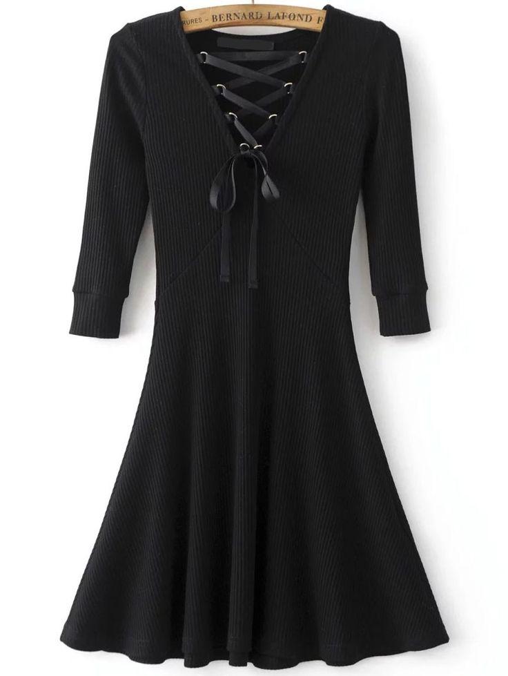 Black Lace Up V Neck 3/4 sleeve A Line Dress - Party dresses outlet