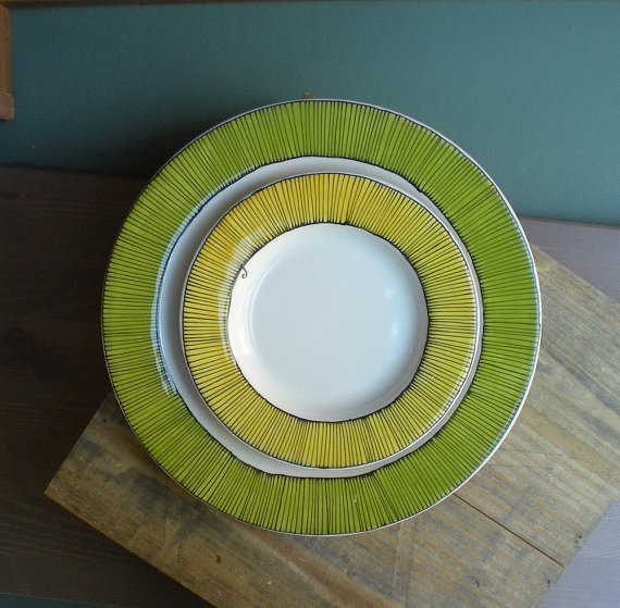 green stripes plates | catherine reece (san francisco)