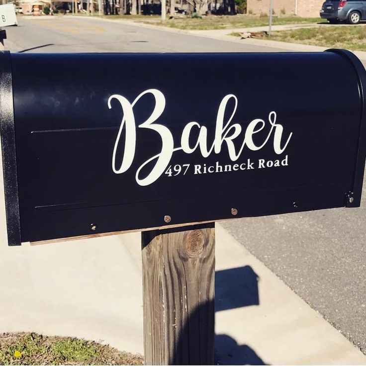 Custom vinyl decal on mailbox