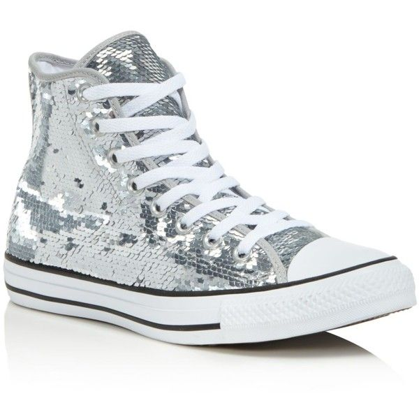 Converse Women's Ctas Sequined High Top Sneakers ($70) ❤ liked on Polyvore featuring shoes, sneakers, silver sequin sneakers, high-top sneakers, converse sneakers, silver sneakers and white sneakers