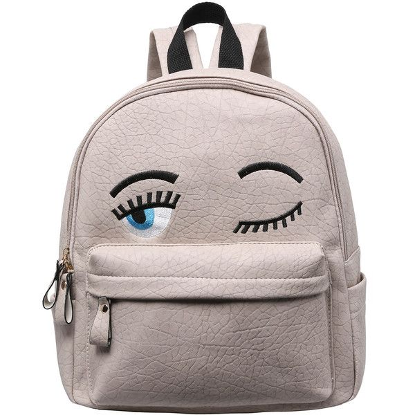 Grey Eyes Pattern PU Backpack ($16) ❤ liked on Polyvore featuring bags, backpacks, backpack, grey, gray backpack, pattern bag, grey bag, grey backpack and patterned backpacks