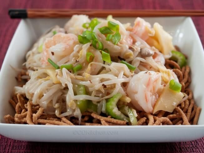 Skip the take-out menu and make this copy cat version of Ho Ho's Chinese Restaurant's chow mein. Fresh shrimp is stir fried with bean sprouts, water chestnuts, mushrooms, and bamboo shoots and served with crispy chow mein noodles. | CDKitchen.com