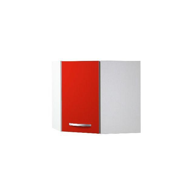 Meuble haut d\'angle L60x60xH58xP36cm - rouge | Meuble de cuisine ...