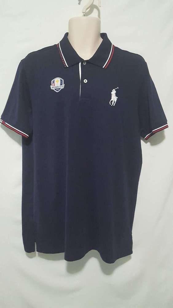 Ralph Lauren Polo Golf Shirt Blue, Large White Logo Ryder Cup 2014 USA Men's L #RalphLaurenGolf #PoloRugby