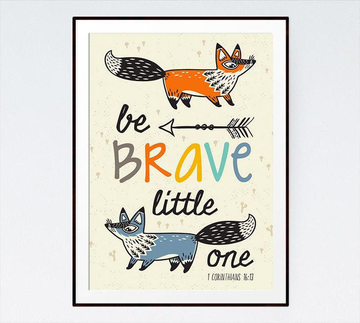 Display this children's bible verse print to remind little ones to be brave because the Lord lives in us and He is our strength. #christianart
