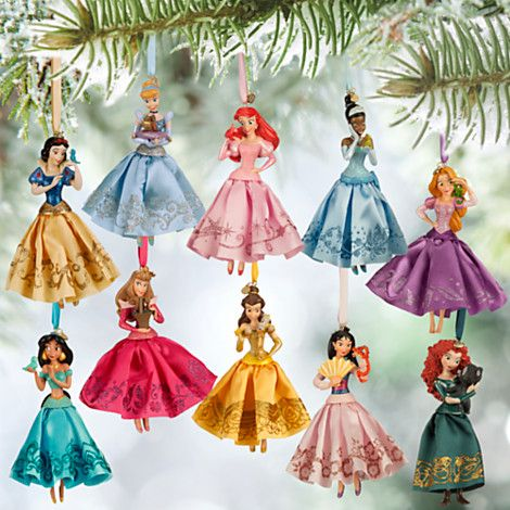 Disney Princess Christmas Decorations, Set of 10