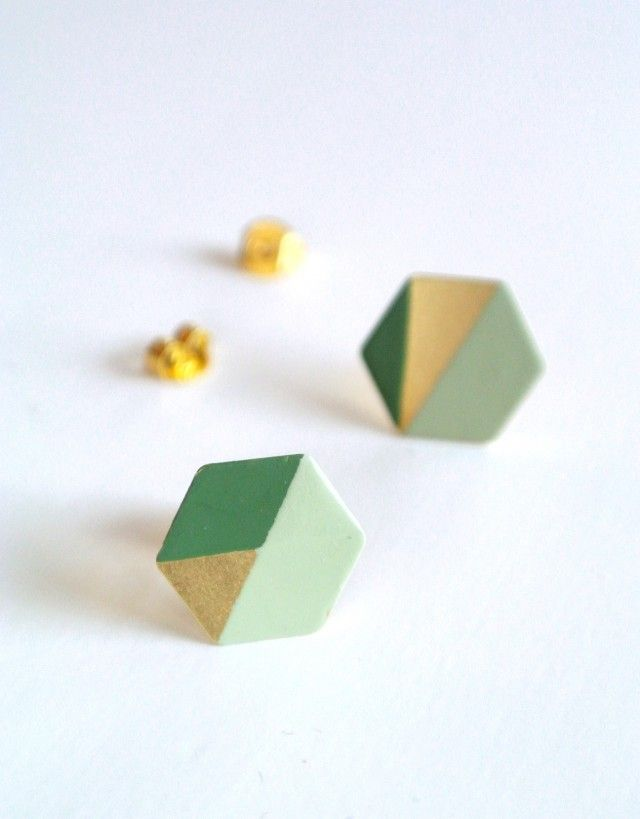 Hexagon earrings, brass/lightgreen/darkgreen by Scandinavian jewellery maker OCHFORM - Nordic Design Collective