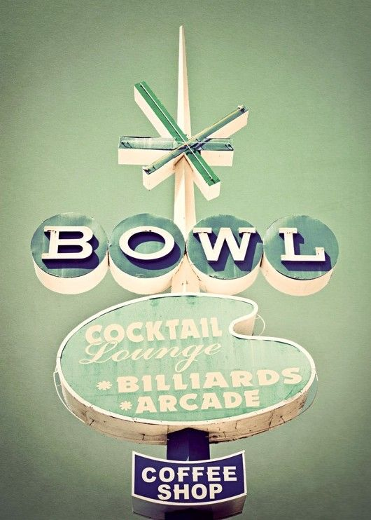BOWL Googie Neon Sign - 8x10 Fine Art Photography Print. $30.00, via Etsy.
