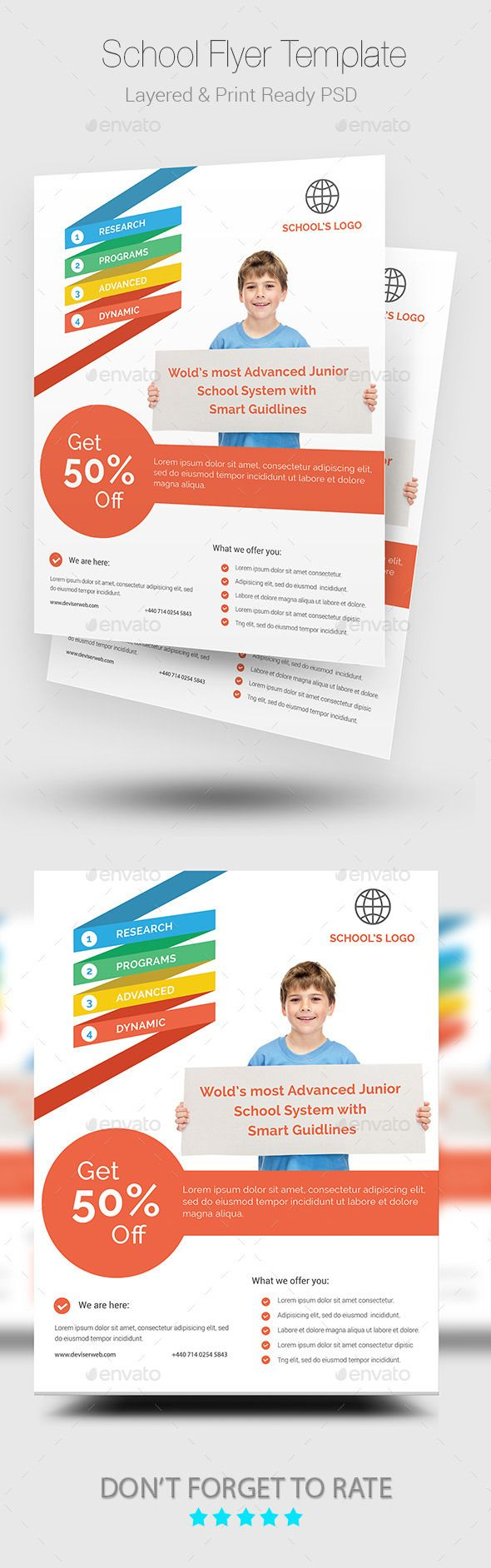 School Flyer — Photoshop PSD #red #school • Available here → https://graphicriver.net/item/school-flyer/10009443?ref=pxcr