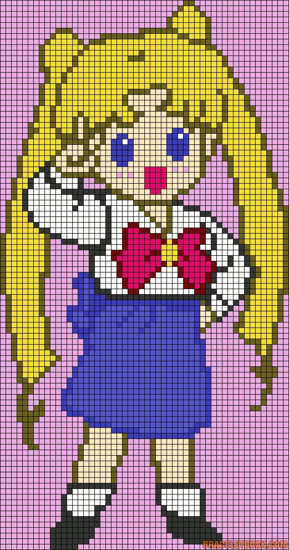 Sailor Moon perler bead pattern... Could be used for Rainbow Loom