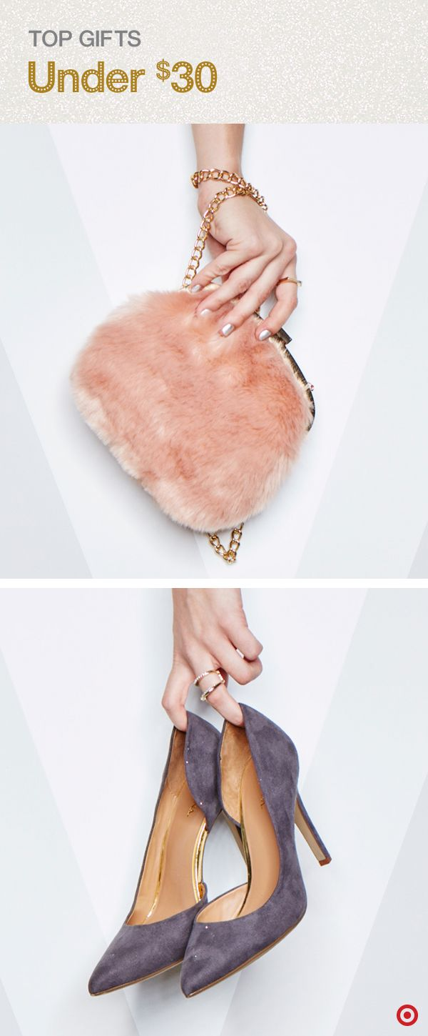 Give the gift of elegant style this Christmas with accessories that will wow any trendsetter. This plush, faux-fur mini bag from Who What Wear is party-ready, perfectly sized and a must-have this holiday season. Add luxe, faux-suede Merona stiletto pumps for a little added sass. The skinny heel, pointy toe and a half-d'Orsay cut amp up any look. Best yet? Both are totally budget-friendly!