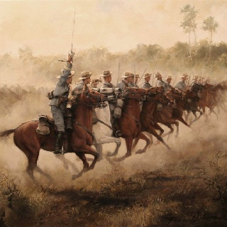 Spanish  Cavalry. Painted by Augusto Ferrer Dalmau