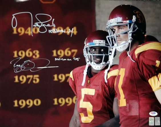 "Reggie Bush & Matt Leinart Autographed 16x20 Photo USC Trojans """"Heisman 04 & 05"""" PSA/DNA #Q35120"