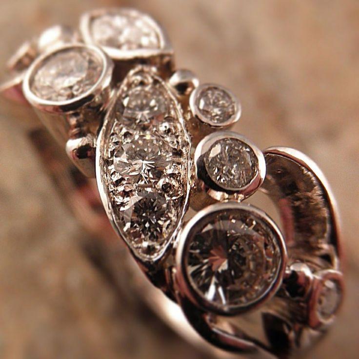 Handmade Olil ring. White gold and diamonds. Olil.com.au
