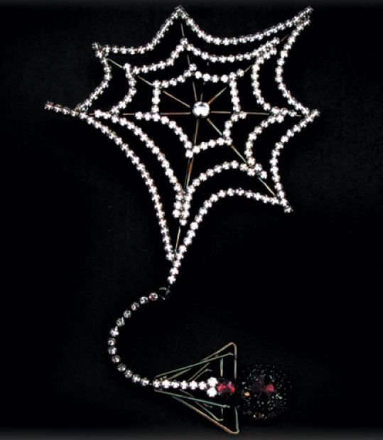 Crystal Web w/Dangling Spider Broach