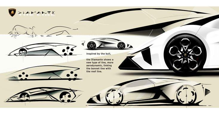 lamborghini diamante concept   design sketches car