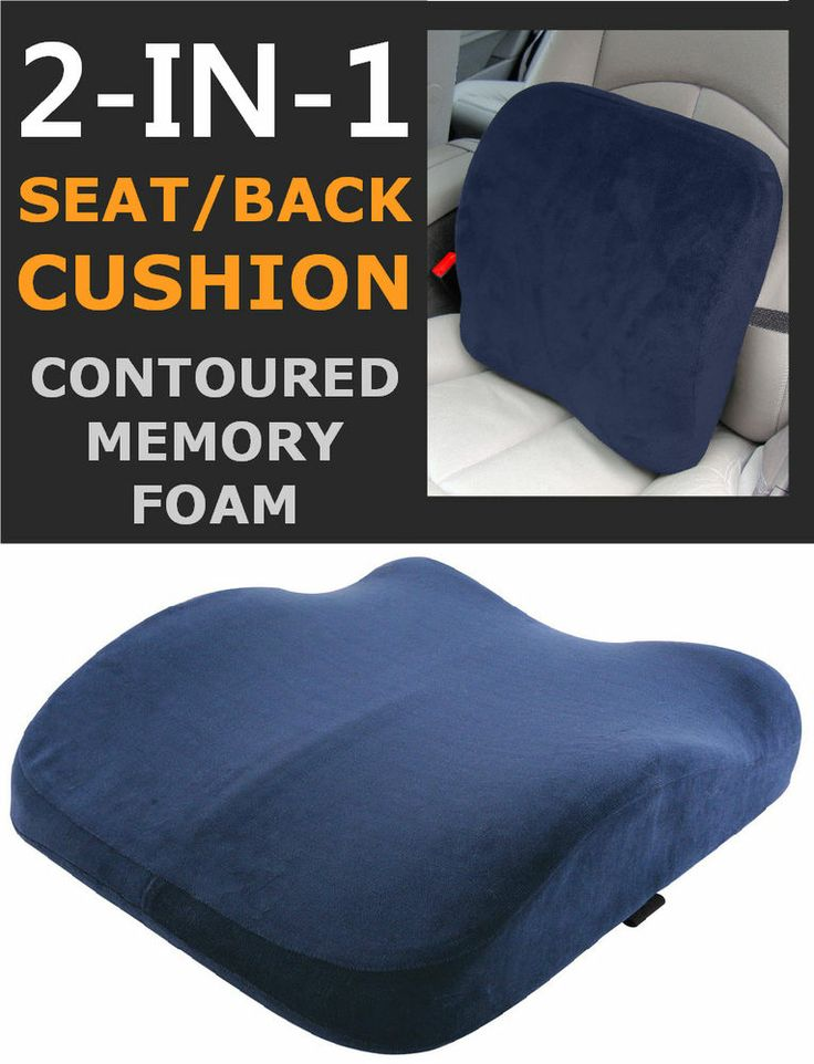 details about memory foam seat lumbar pain support booster car cushion chair back height gain. Black Bedroom Furniture Sets. Home Design Ideas