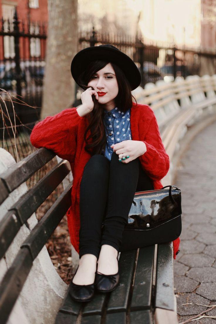 red cardigan, polka dot shirt, & bowler hat ~~ #FlashesOfStyle