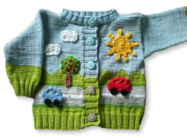 Strick jetzt gleich für Dein Baby eine tolle Jacke mit einem schönen Straßenmotiv ++ Sonne, Autos, Bäumen + Wolken. Das ist ein tolles Highlight. Viel Spaß.