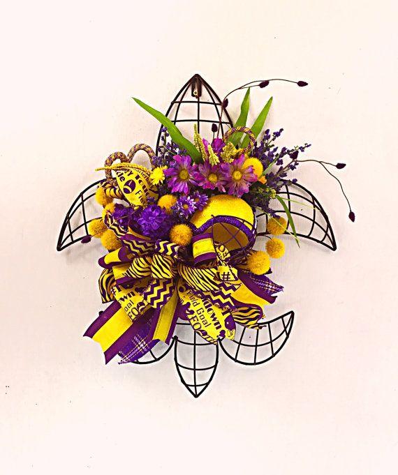 LSU Wreath, Tigers Decor, Purple and Gold Wreath, LSU Fans, Baton Rouge Wreath, Louisiana Wreath, Door Hanger, - ready to ship