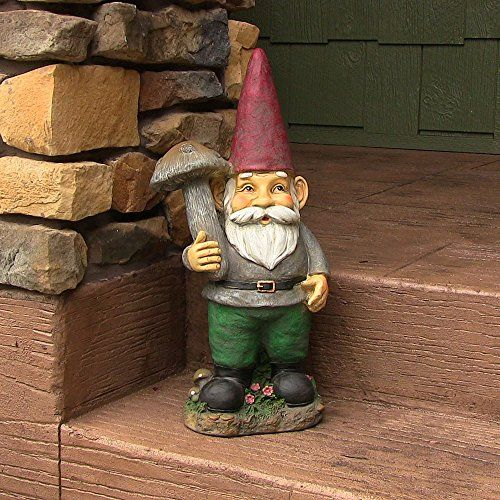 Marty the mushroom gnome 20 inch tall by sunnydaze decor for Gnome 3 decoration fenetre