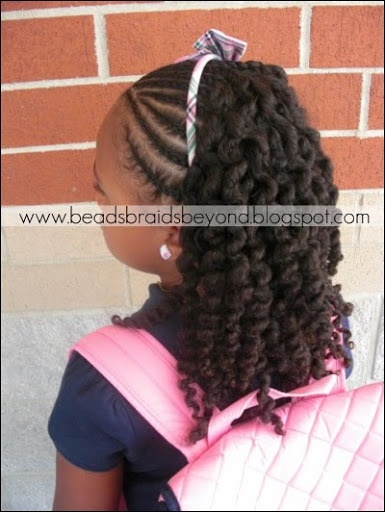 Beads, Braids and Beyond: Half Cornrows with Three Strand Twist Out