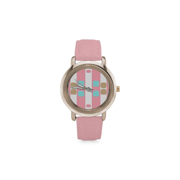 Leather watch -pastel stripes with dots Round Rose Gold Lady's Leather Watch.Pastel pattern designed by #Annabellerockz