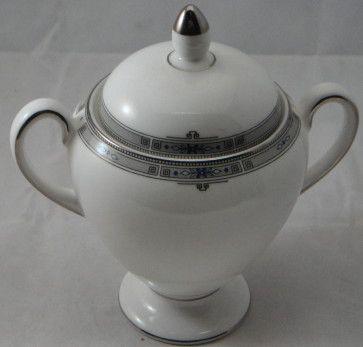 China :: Wedgwood :: Wedgwood Amherst Platinum :: Wedgwood Amherst Platinum Globe Shape Sugar Bowl & Lid