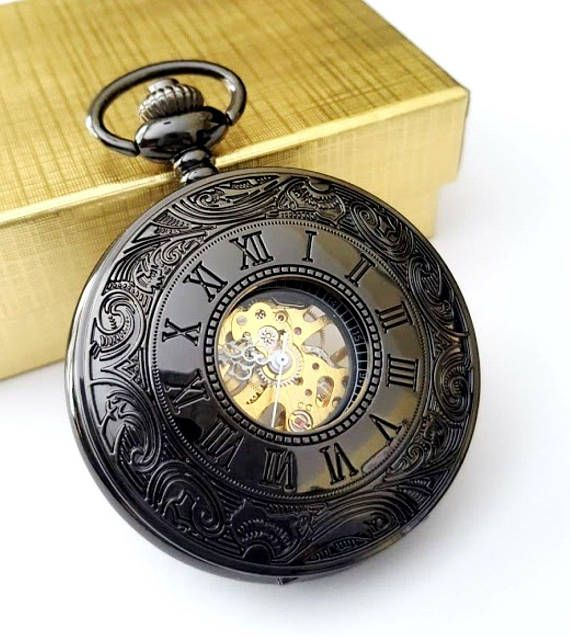 Black Pocket Watch with Matching Chain Groomsmen Gift Wedding