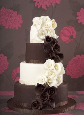 chocolate and White Wedding Cake