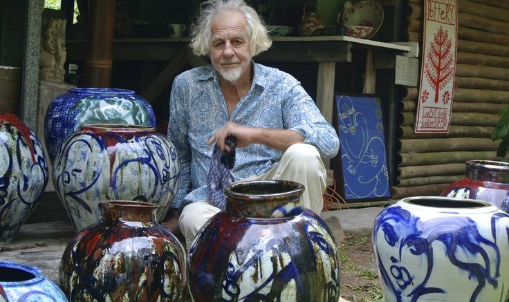 Michael and his pots, Middle Earth Pottery, Buderim. Qld.