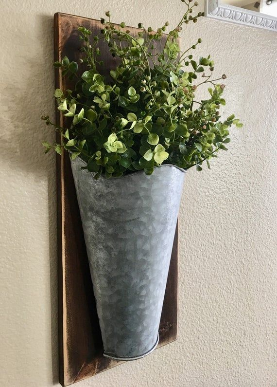 Galvanized Wall Tins Set Of One Or Two Farmhouse Spring Metal Wall Vase Wall Decor Sconce With Flowers Rustic Home Decor Lambs Ears Metal Wall Planters Wall Vase Galvanized Metal Wall