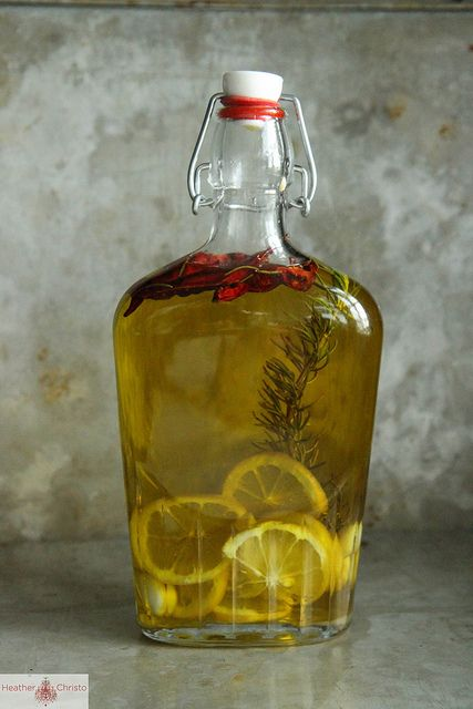 Infused Oil made with Meyer Lemon, garlic rosemary and chili.  Homemade edible gifts by Heather Christo, via Flickr