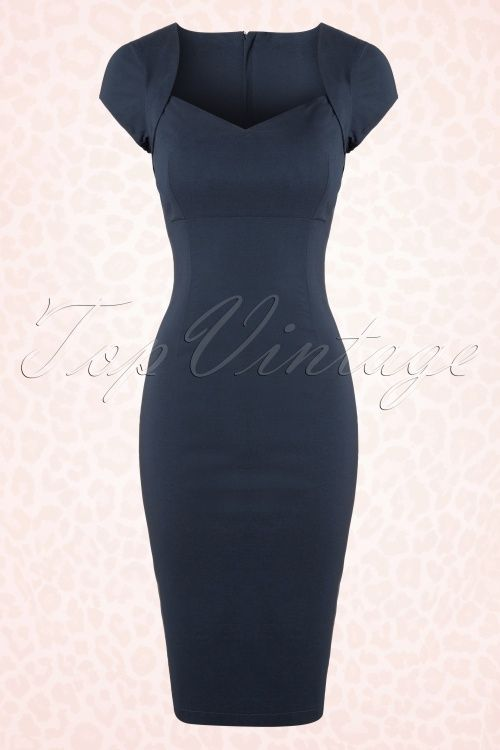 Collectif Clothing Regina Blue Pencil Dress 100 31 16108 1