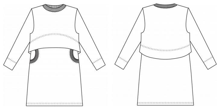 Freebook Kinderkleid Langarm zum selber naehen Schnittmusterzeichnung