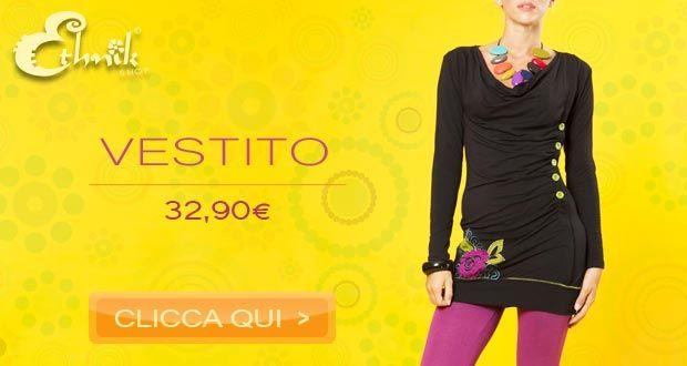 #Vestito #etnico in #cotone pesante autunno-inverno con maniche lunghe, scollo morbido, bottoni colorati sul fianco e ricamo raffigurante un fiore fluo. Disponibile in nero e verde. TAGLIE: S/M, M/L. 100% cotone. http://www.ethnik.it/vestito-etnico-cotone-sunflower-nero-ethnic-cotton-dress-black    http://www.ethnik.it/vestito-etnico-cotone-sunflower-verde-ethnic-cotton-dress-green