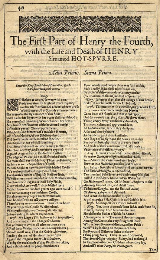 an analysis of king henry 4 part 1 by william shakespeare King henry and prince hal sure do like their references to celestial bodies   three act plot analysis  so, shakespeare had to change the name of his fat,  disgraceful knight to falstaff  there's no sex on stage in henry iv part 1, at all.