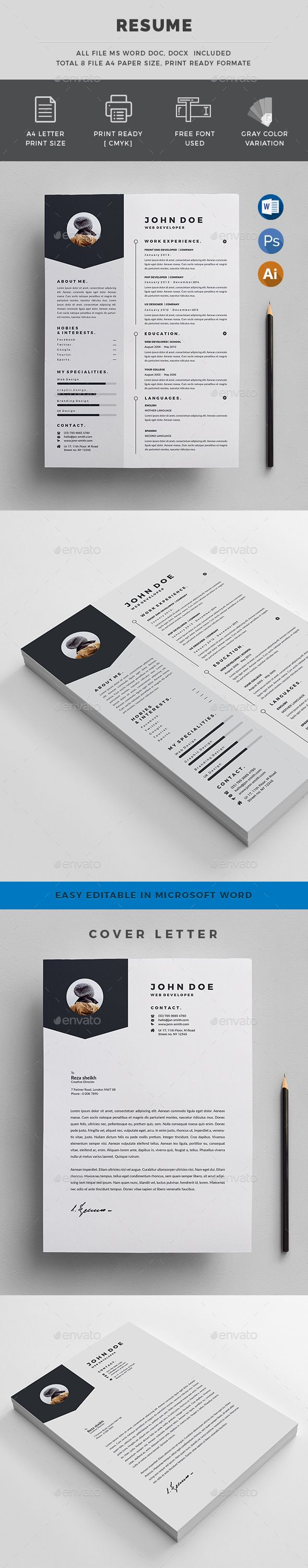 #Resumes - Resumes Stationery Download here: https://graphicriver.net/item/resumes/19448196?ref=alena994