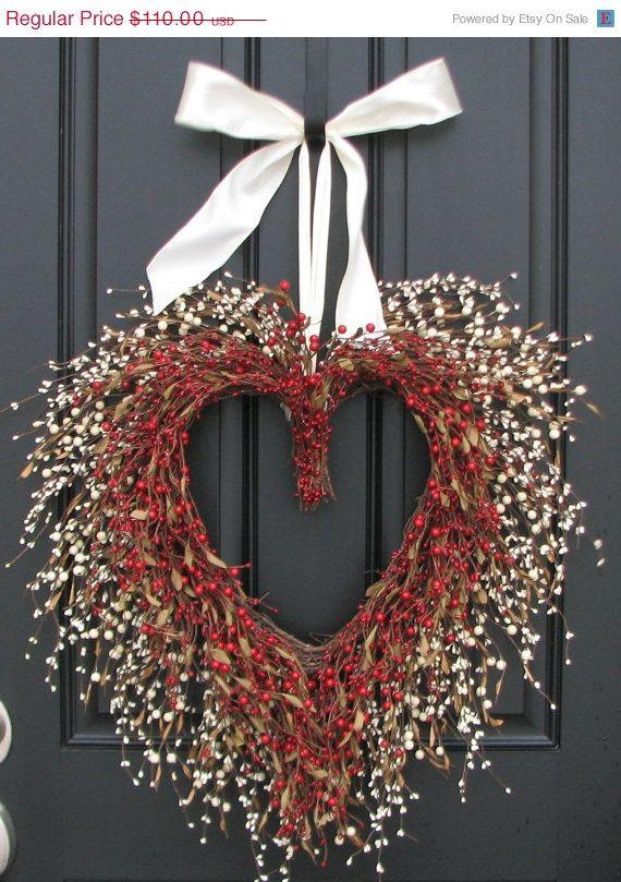 Den jarní výprodej Valentýn - Be My Valentine - šíleně zamilovaná With You - Heart Wreath - Svatební věnec