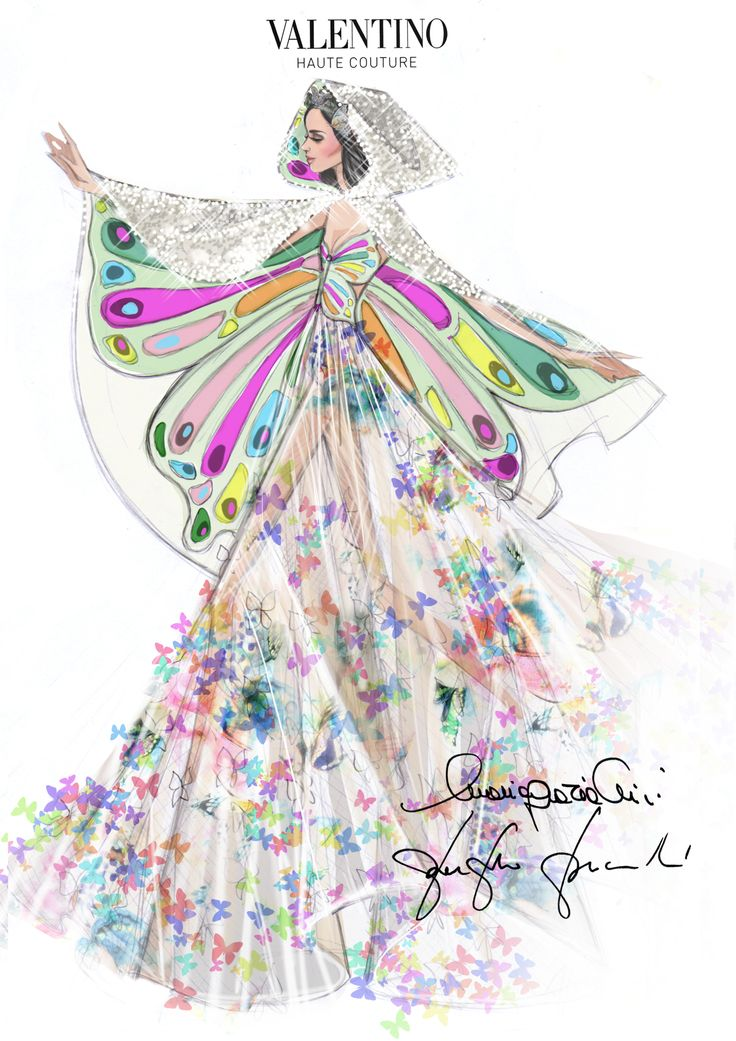 "The sketch of the dress designed especially for Katy Perry by Creative Directors Maria Grazia Chiuri and Pierpaolo Piccioli for her "" Prismatic World Tour 2014""."