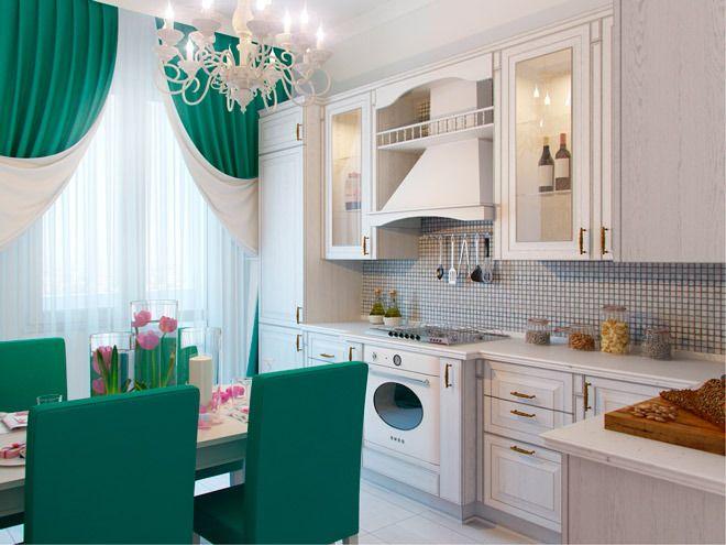 Аквамариновый цвет на кухне использован в текстиле - обивке мебели и шторах.