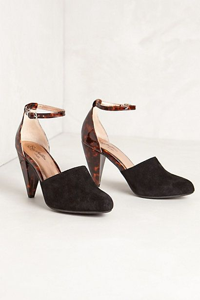 Seychelles 'Syncopation' / 'Music to my ears' heels in black suede and tortoise shell print. Seychelles shoes are so comfortable!