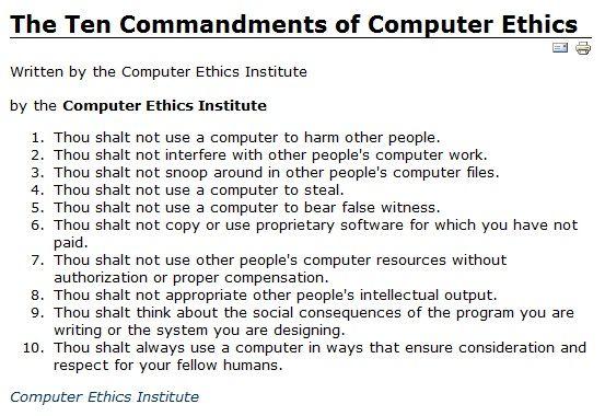 Computer Ethics Institute's Ten Commandments of Computer Ethics