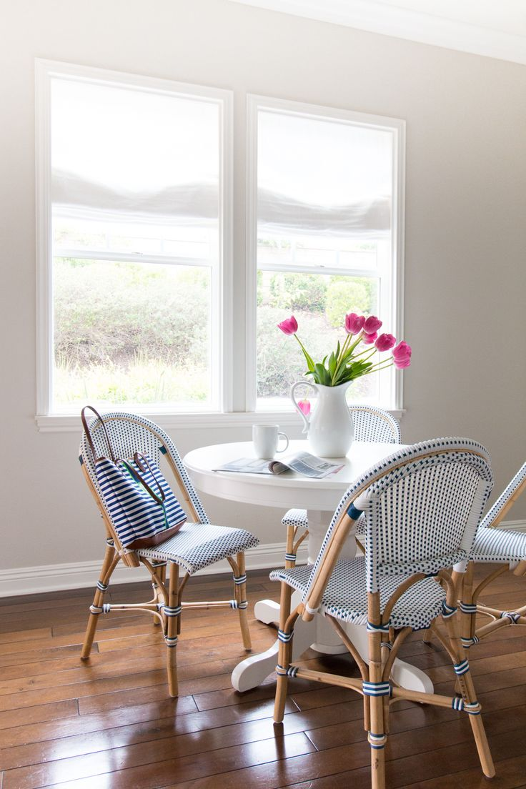 New trend painted chairs with dipped or raw legs jelanie - Custom Belgian Linen Roman Shades In Optic White